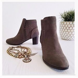 Nubuck Leather Basket Weave Ankle Boot Jack Rogers